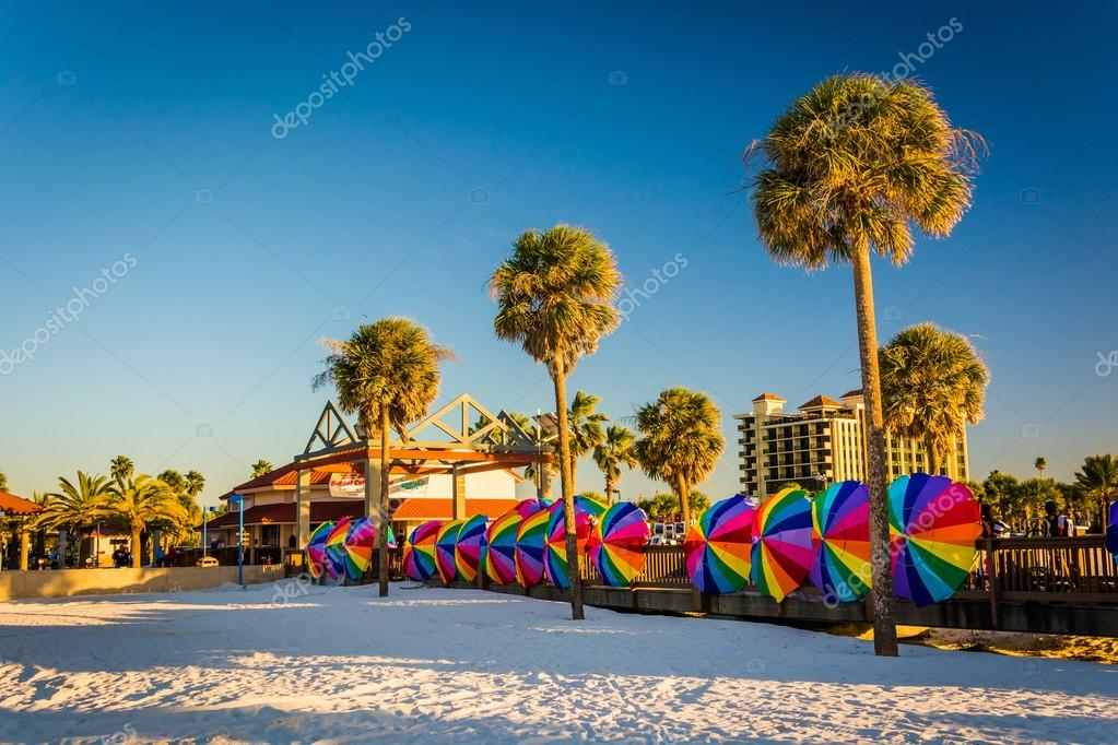 Palm Trees And Colorful Beach Umbrellas In Clearwater Flo Stock Photo