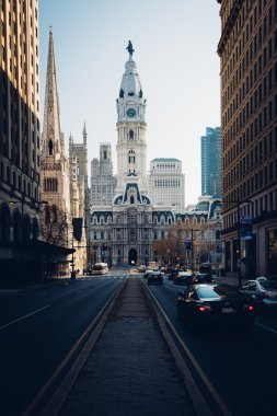 Broad Street  and City Hall, in Philadelphia, Pennsylvania.