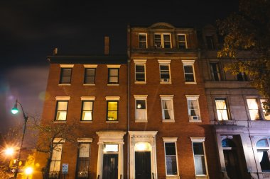 Old buildings at night in Mount Vernon, Baltimore, Maryland.