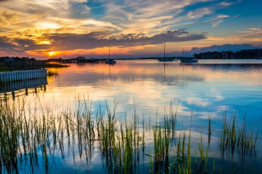Sunset over the Folly River, in Folly Beach, South Carolina.