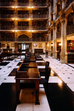 The interior of the Peabody Library in Mount Vernon, Baltimore,
