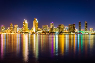 The San Diego skyline at night, seen from Centennial Park, in Co