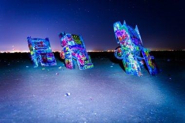 The Cadillac Ranch at night, along Historic Route 66 in Amarillo