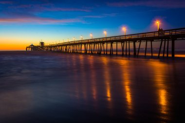 The fishing pier seen after sunset, in Imperial Beach, Californi