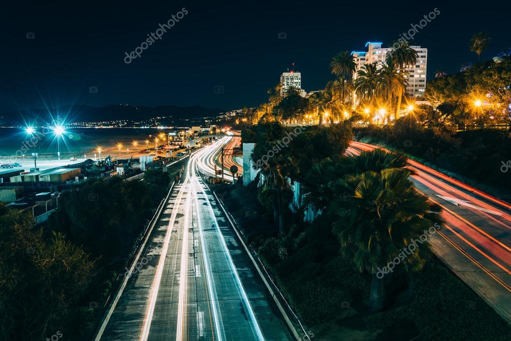 Traffic on Pacific Coast Highway at night, in Santa Monica, Cali