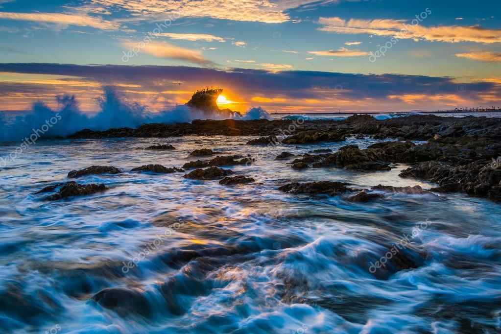 Corona Del Mar на закате бесплатно