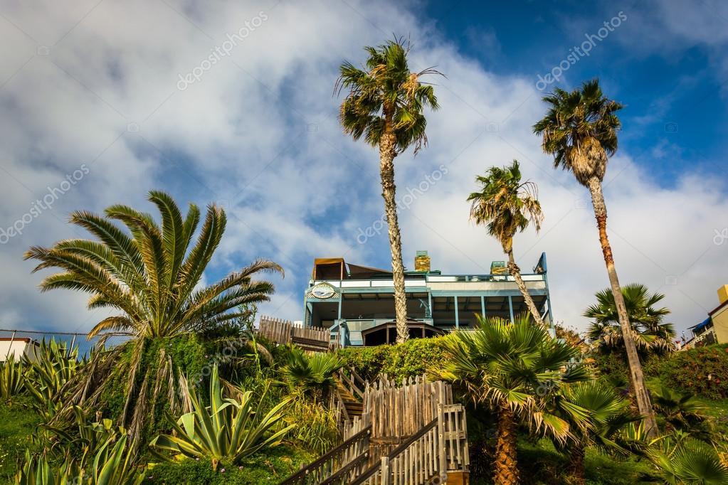 ヤシの木とラグナ ・ ビーチのビーチの上の崖の上の家 — ストック写真