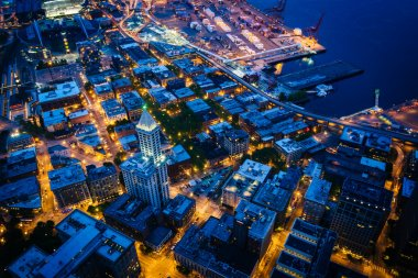View of the Pioneer Square area at night, in Seattle, Washington