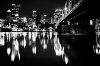 The Andy Warhol Bridge and skyline at night, in Pittsburgh, Penn