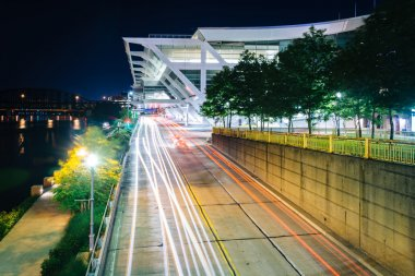 The Convention Center and Fort Duquesne Boulevard at night, in P