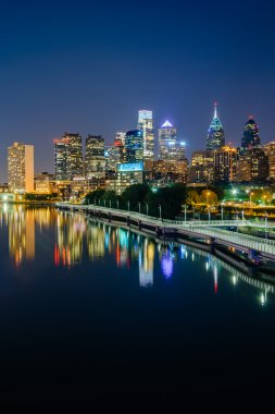 The Philadelphia skyline and Schuylkill River at night, seen fro