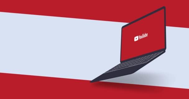 New York, USA - 1. srpna 2021: Youtube logo na obrazovce notebooku animace, design pohybu, Illustrative Editorial