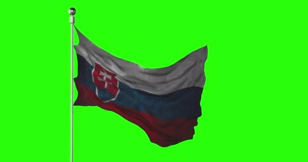 Slovenská národní vlajka mávající na zelené obrazovce. Animace kláves Chroma. Slovenská politická ilustrace