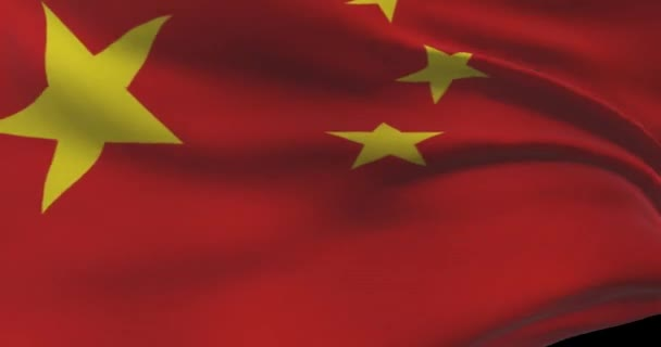 China national flag footage. Chinese waving country flag on wind