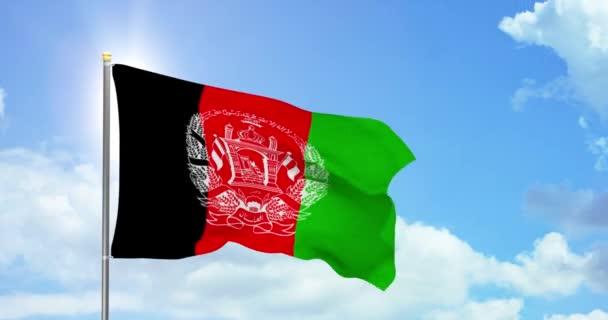 Afghanistan politics and news. Afghan national flag on sky background footage