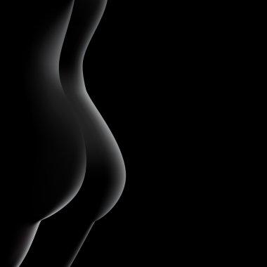 Nude female buttock