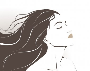 Beautiful girl wih long hair