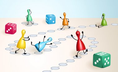 Board game with ludo figures and dices