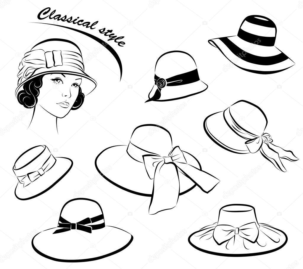 время, головные женские уборы шляпки картинки раскраски находятся