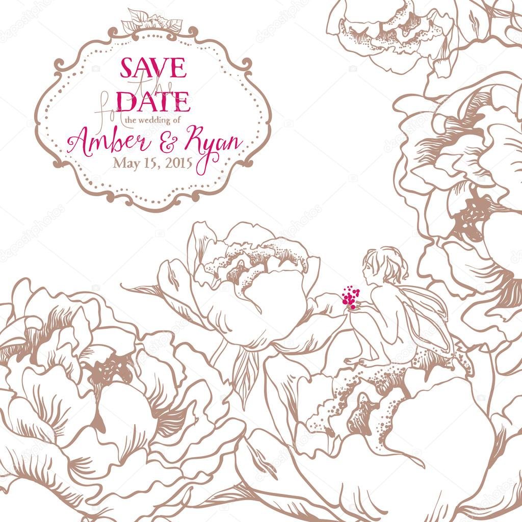 Romantic invitation card with Flowers and cute little Fairy.