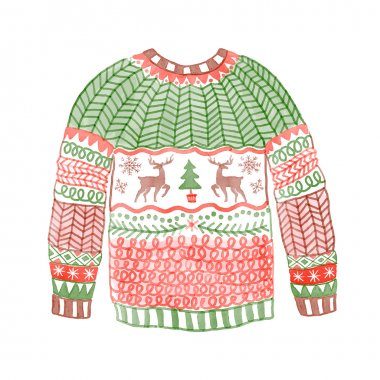 Cozy sweater with Christmas deer.