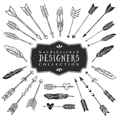 Vintage decorative arrows and feathers collection