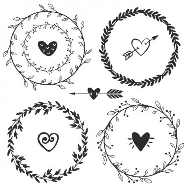 Vintage wreaths with hearts