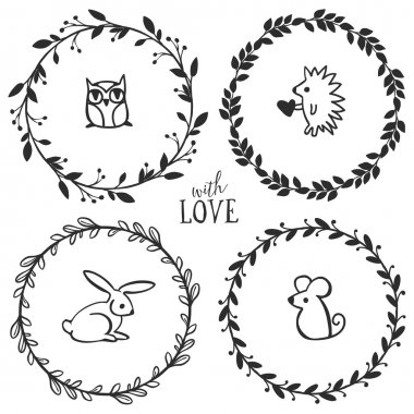 Vintage wreaths with lettering and little animals
