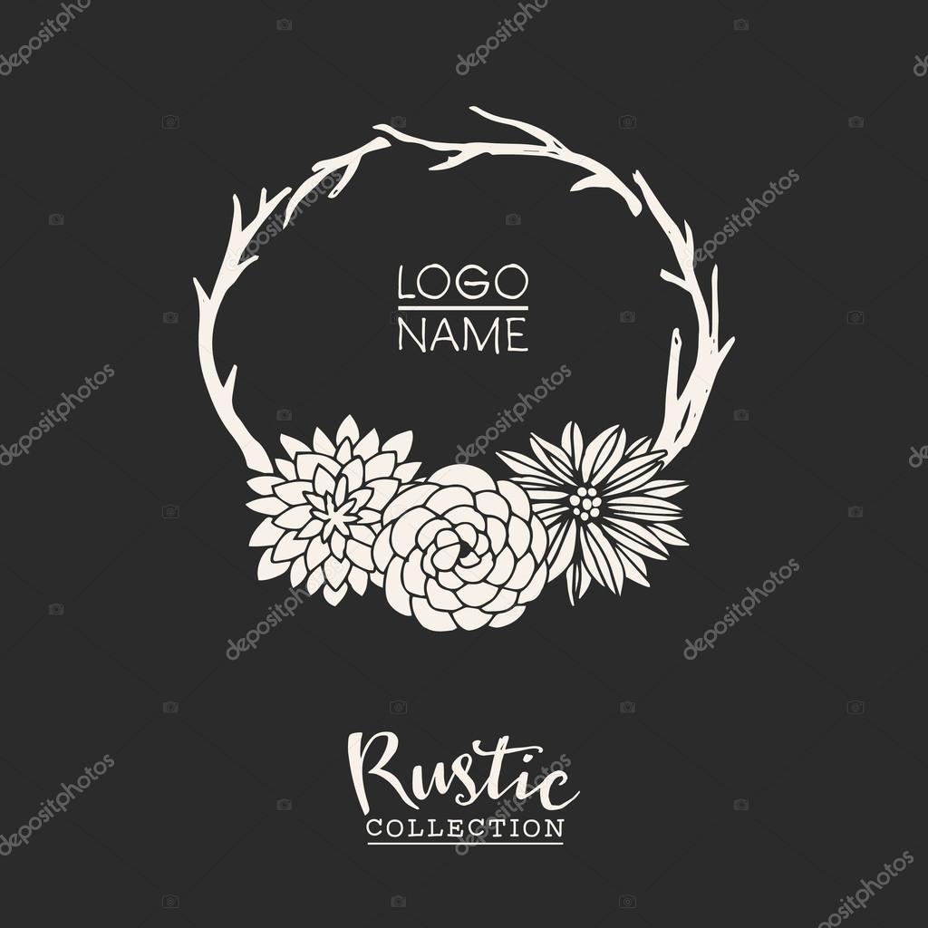 rustic premade typographic logo template stock vector kite kit
