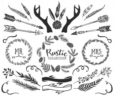 Hand drawn antlers, arrows, feathers