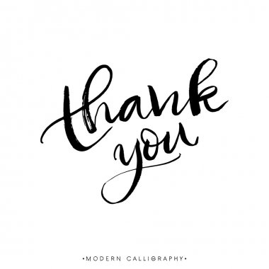 Thank you. Modern brush calligraphy. Handwritten ink lettering. Hand drawn design elements. clip art vector