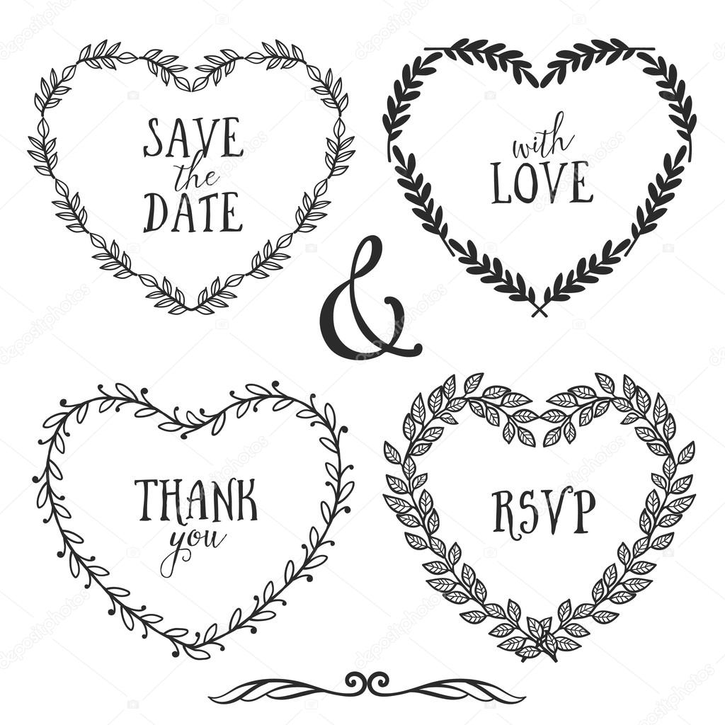 Hand Drawn Rustic Vintage Hearts Stock Vector