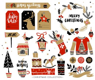 Christmas hand drawn design elements with calligraphy. Handwritten modern brush lettering. Gift tags and gift boxes, wreath, sweater and christmas stocking. stock vector