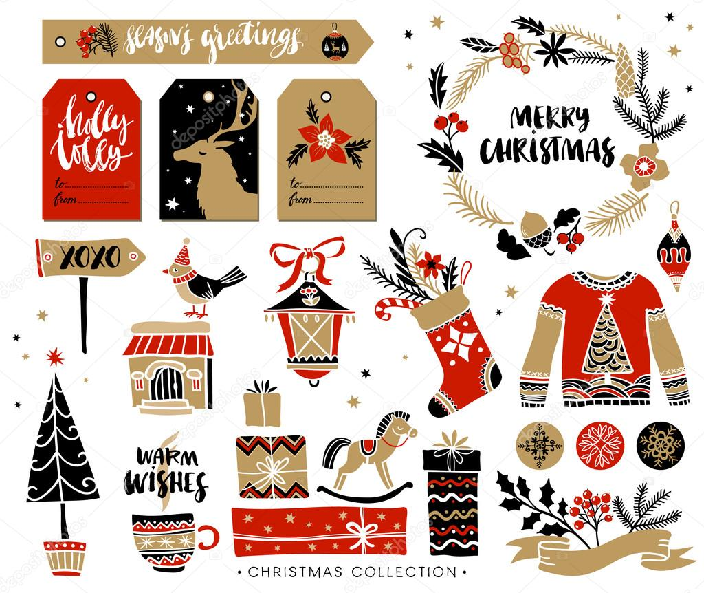 Christmas hand drawn design elements