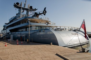 Yacht with helicopter