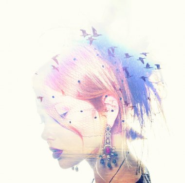 Womans head and birds flying, double exposure, freedom and liberty  background. Beauty is a gift from nature,