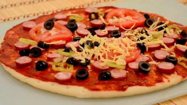 Vaření pizza detail.