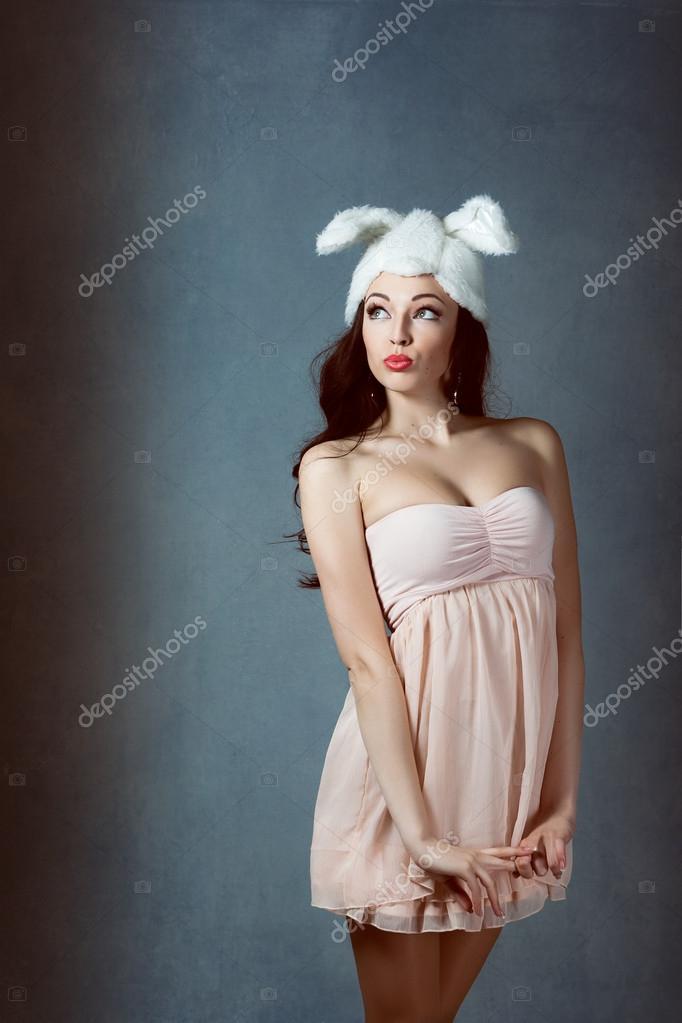 Schöne Sexy Frau Mit Langen Seidigen Haaren Posieren Mädchen In Das