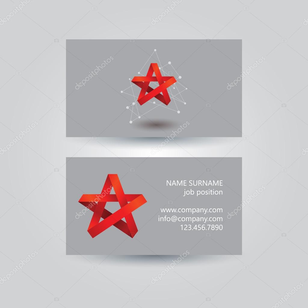 origami ribbon star business card vector design — Stock Vector ...