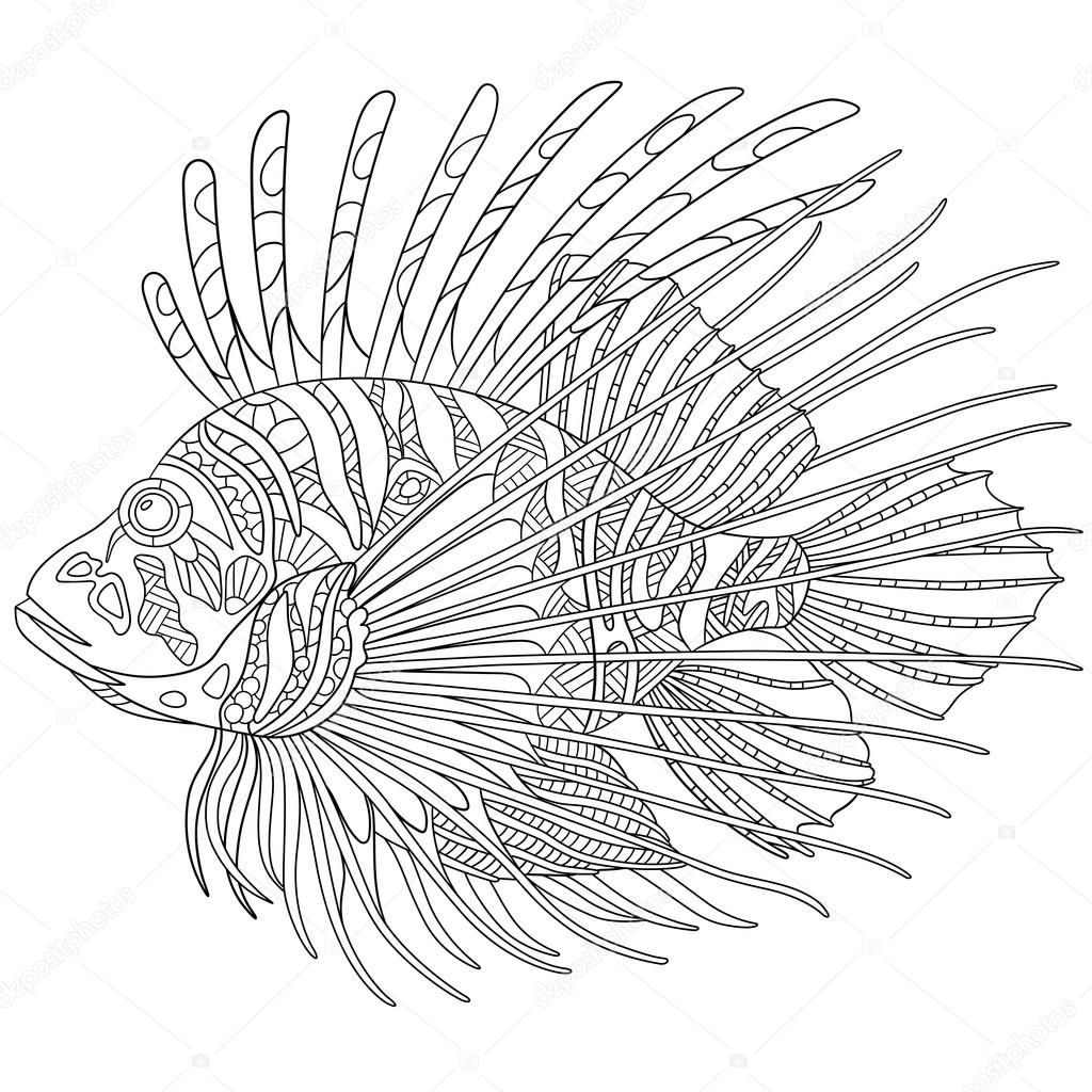 Zentangle stylized zebrafish (lionfish) — Vector de stock © Sybirko ...