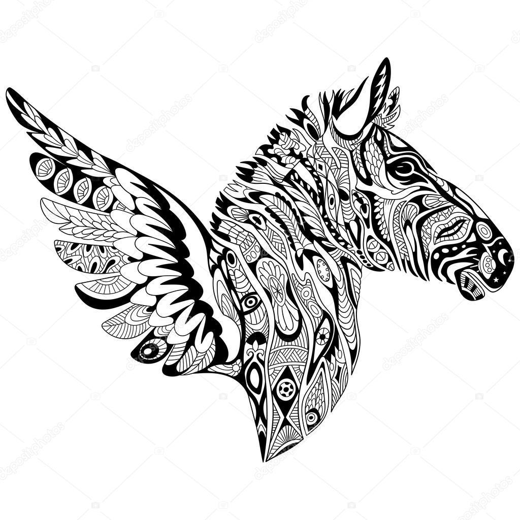 Zentangle stilisierte Zebra mit Flügeln — Stockvektor © Sybirko ...