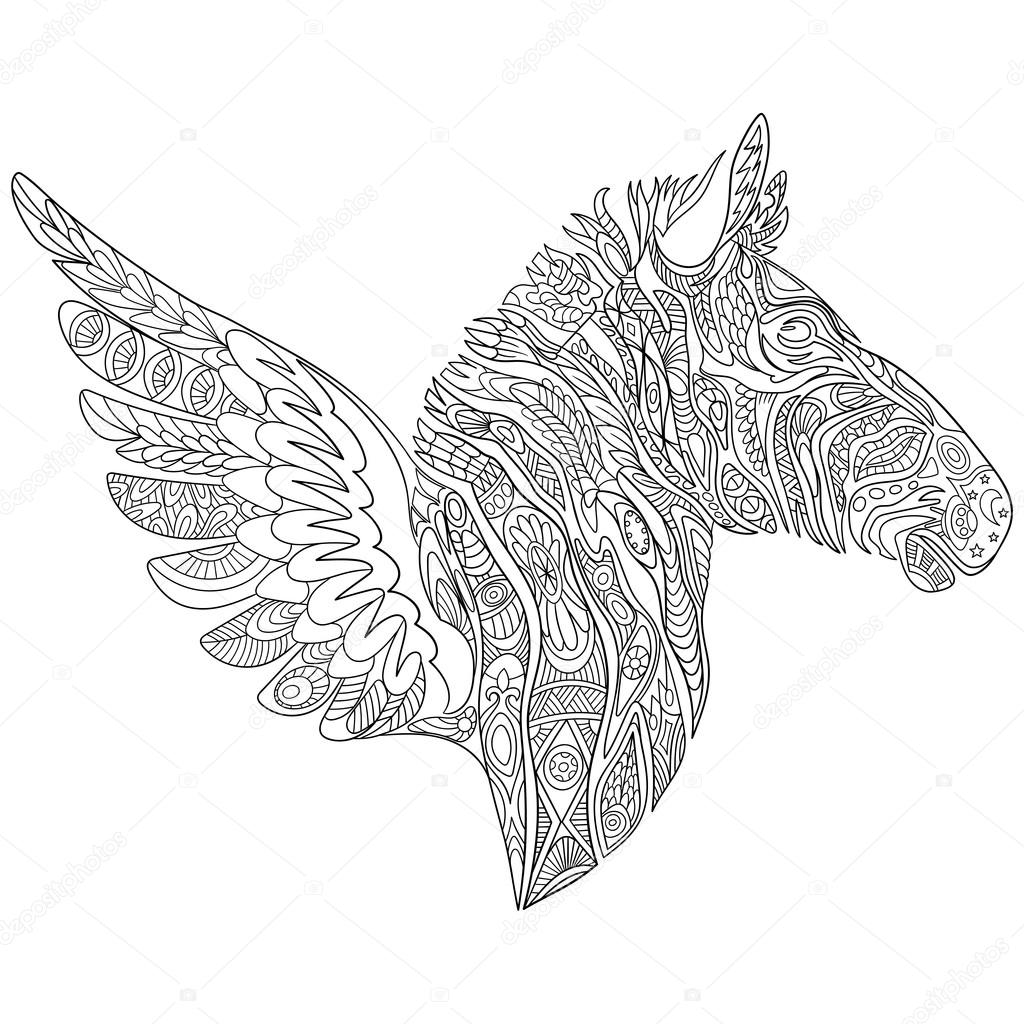 Kleurplaten Voor Volwassenen Zebra.Zentangle Gestileerde Zebra Met Vleugels Stockvector C Sybirko