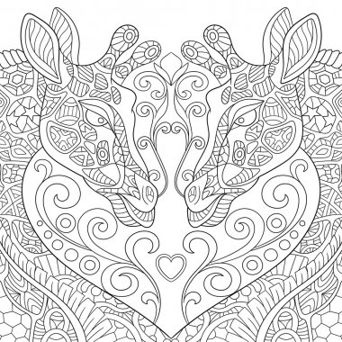 Zentangle stylized two lovely giraffes with a heart