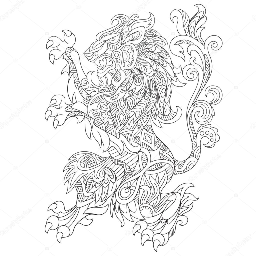 Dieren Kleurplaten Voor Volwassenen Koala Zentangle Stylized Wild Lion Animal Stock Vector