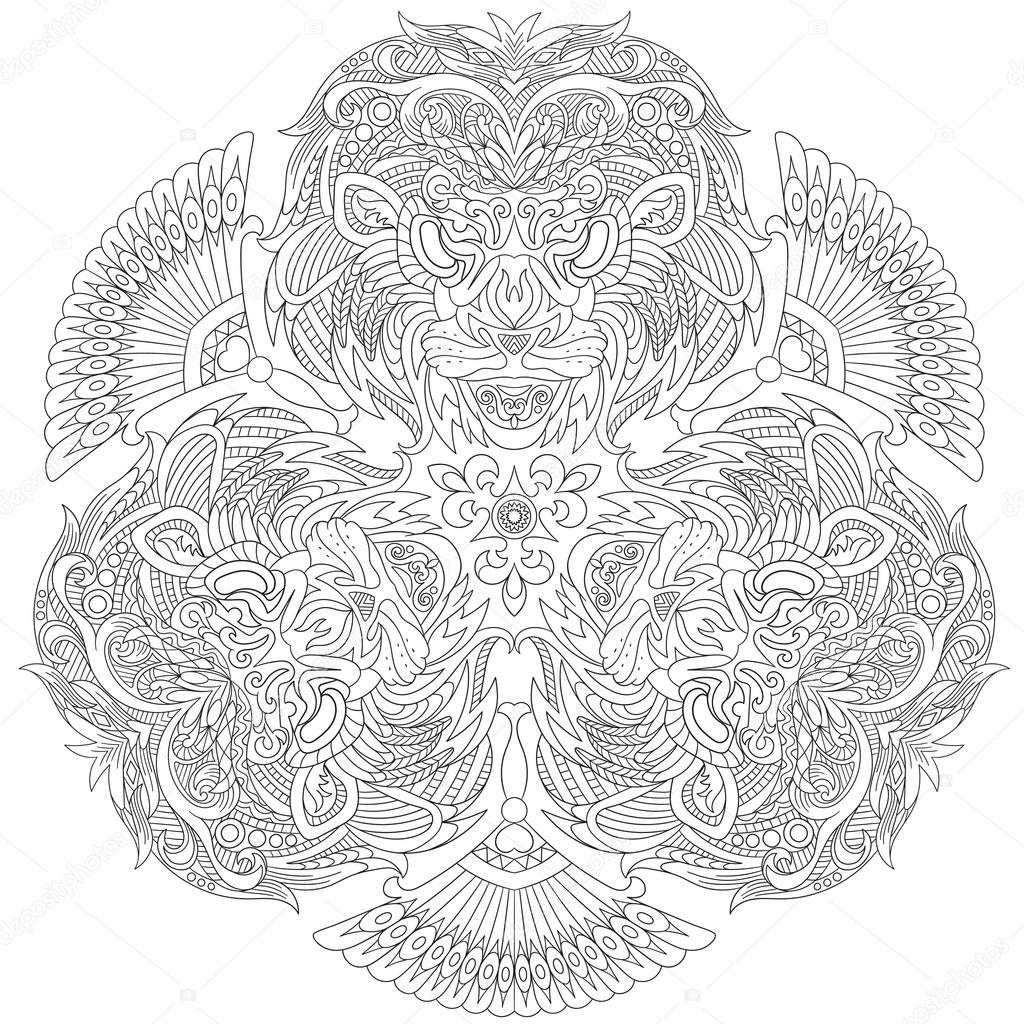 Zentangle Aslan çehresini Stilize Dizi üç Dengeli Aslan Maskesi