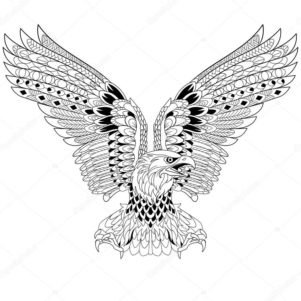 Zentangle Stilisierte Adler Stockvektor Sybirko 102651060