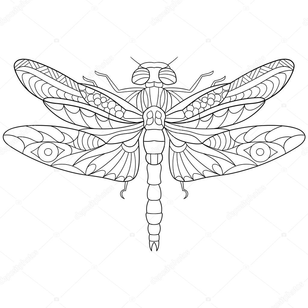Insectos libélula estilizada de zentangle — Vector de stock ...