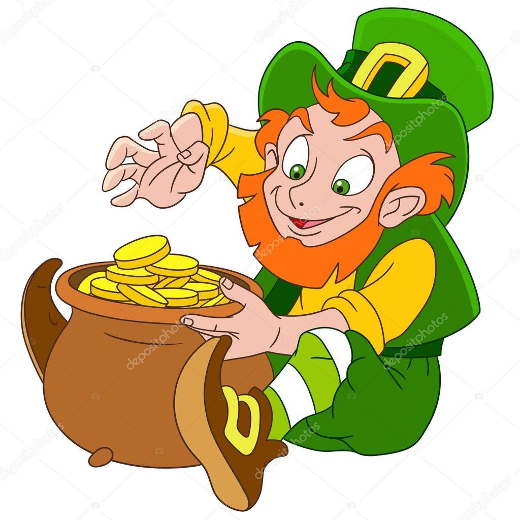 duende de dibujos animados lindo día de St Patrick — Archivo ...