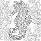 Zentangle stylizované seahorse