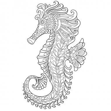 Zentangle stylized cartoon seahorse, isolated on white background. Hand drawn sketch for adult antistress coloring page, T-shirt emblem, logo or tattoo with doodle, zentangle, floral design elements. stock vector